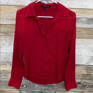 Theory | Red Button Down Silk Blend Blouse Small